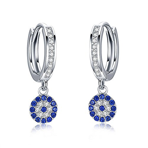 (Round Blue Evil Eye Hoop Earrings in Sterling Silver 925 With Cubic Zirconia CZ Eye Dia.6mm)