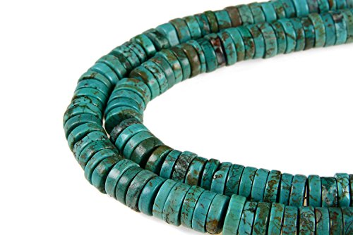 """GoodBead Natural Blue/Green Turquoise 3x8mm Disc Cut Smooth Bead 15.5"""" Strand for Jewelry Making"""