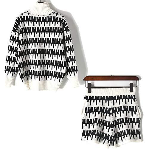 Alto Geometrico White Maglia Pantaloncini Lavorato Zuoluo Bianco Nero A Collo Maglione Donna E Da RxZYwqB