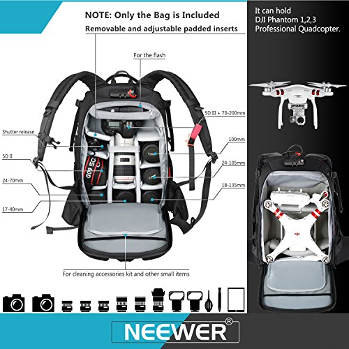51jdXozTlpL - Neewer Pro Camera Case Waterproof Shockproof Adjustable Padded Camera Backpack Bag with Anti-theft Combination Lock for DSLR,DJI Phantom 1 2 3 Professional Drone Tripods Flash Lens and Other Accessory