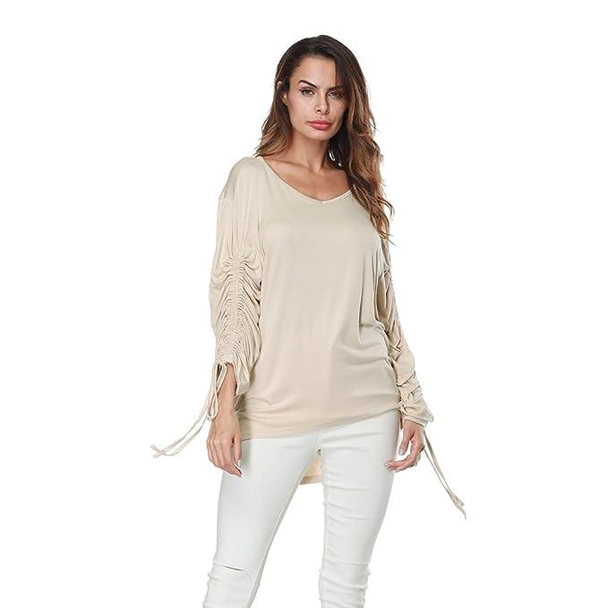 Sentao Mujer Camiseta Casual Manga larga Blusa Tops Elegante Moda Camisas otoño invierno Ropa (Albaricoque