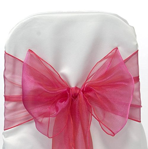 MDS Pack of 10 Organza Chair Sashes / Bows sash for Wedding or Events Banquet Decor Chair bow sash -magenta (Magenta Chair)