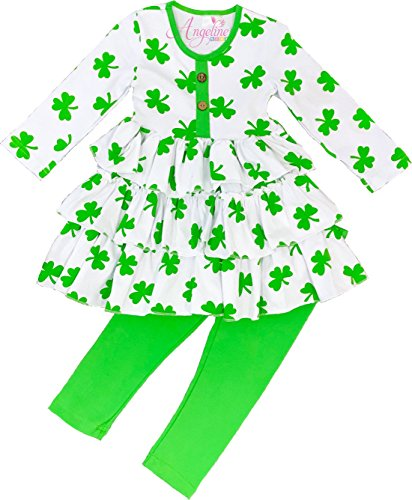 Angeline Boutique Clothing Girls ST. Patricks Day Shamrock Tiered Legging Set 4T/M