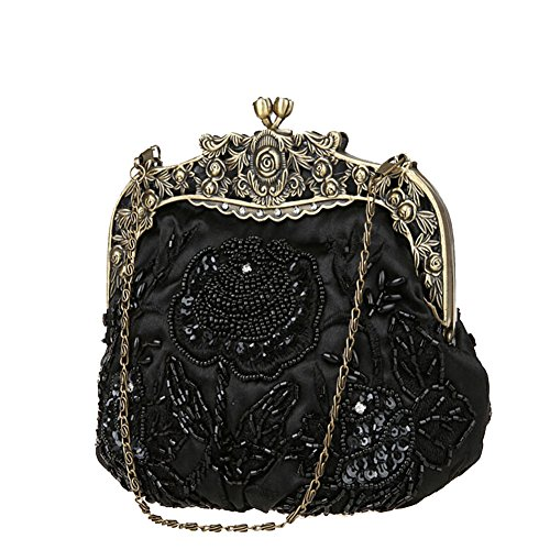 Handbag Clutch Sequins Beaded Black Cameo ANDAY Women's Chain Vintage Purple Flower 7ctIww0Z8q