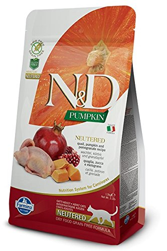 Farmina N&D Neutered Cat Grain Free Pumpkin Quail Dry Food 3.3 Pounds
