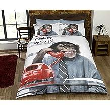 Duvet Cover and Pillowcase Set Kingsize Single Double King Size With Pillow cases 3d Animal Print Effect Vintage Quilt Luxury Bedding Sets Poly Cotton ( Monkey Business King ) by De Lavish