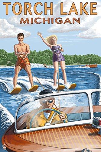 (Torch Lake, Michigan - Water Skiing and Wooden Boat (9x12 Art Print, Wall Decor Travel Poster))