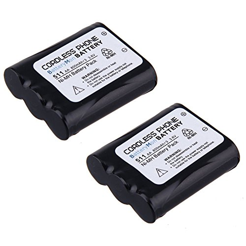 2 Pack 800mAh 3.6V Rechargeable Cordless Phone Battery for Panasonic P-P511 N4HKGMA00001 HHR-P402 KX-TG5100 KX-TG2770 Type 24 Telephone