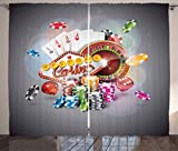 Poker Tournament Decorations Curtains by Ambesonne, Welcome to Casino Colorful Chips Cards Dice Roulette Jackpot, Living Room Bedroom Window Drapes 2 Panel Set, 108 W X 63 L Inches, Multicolor