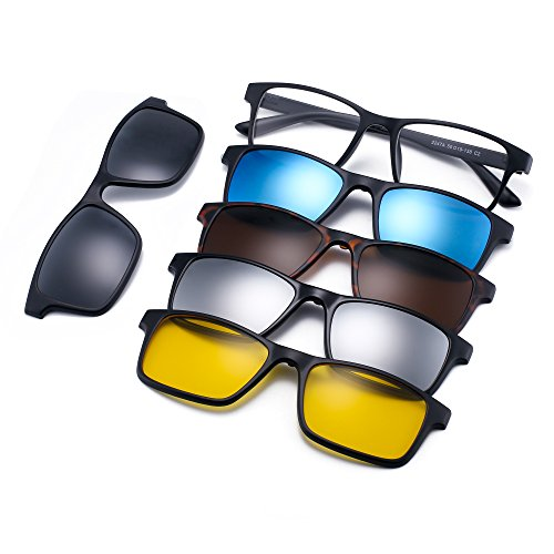 Magnetic 5Pcs Polarized Clip-on Sunglasses Rectangle Plastic Frame for Night Driving 2247A