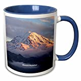 3dRose Sandy Mertens Washington State - Mount Rainier Through the Clouds - Mount Rainier National Park - 11oz Two-Tone Blue Mug (mug_156406_6)