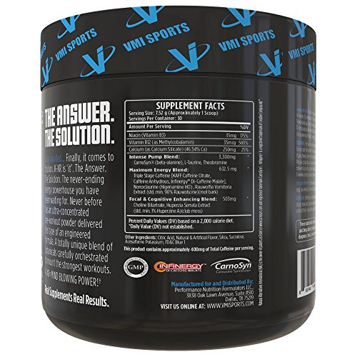 Best Selling Pre Workout Supplement KXR for Strength & Power, Intense Energy Preworkout Powder, Creatine Free, Blue Rasberry