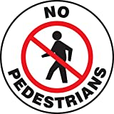 Accuform PSW714 Pavement-Print Sign, Legend''NO PEDESTRIANS'' with Graphic, 17'' Diameter, Red/Black on White