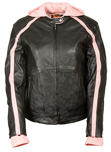 Womens Striped Leather Scooter Jacket Removable Hoodie, Black / Pink Size 5XL