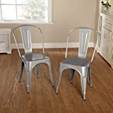 Target Marketing Systems 39018SLV PR Milan Collection Metal Chair, Silver