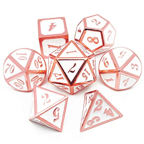 Haxtec 7PCS Metal Dice Set Copper White D&D Dice for Dungeons and Dragon Games-Glossy Enamel Dice (Copper/Rose Gold -