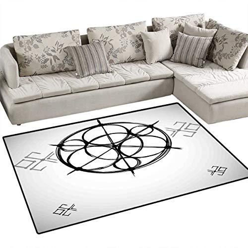 Sacred Geometry Anti-Skid Rugs Sketchy Geometric Plan with Swirled Spiral Origins of Cosmos Universe Girls Rooms Kids Rooms Nursery Decor Mats 3'x5' Black Grey ()