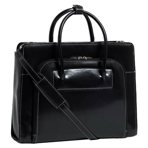 McKleinUSA LAKE FOREST 94335 Black Leather Women's Case w/ Removable Sleeve (Briefcase Mcklein Italian)