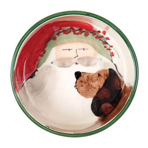Vietri Ceramic Bowls - VIETRI Old St. Nick Dog Bowl