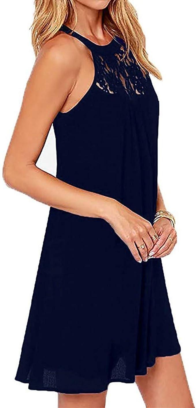 Lulupi Damen Neckholder Kleid Kurz, Minikleid Abendkleid Kurzes