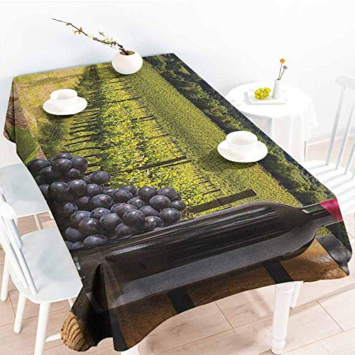 (Fashions Rectangular Table Cloth,Winery Red Wine Bottles with Grapes on Timber Board Tuscany Italian Terrace Scenery,High-end Durable Creative Home,W60x84L Green Blue Brown)