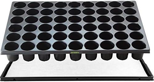 GREEN24 STP Anzuchtset QP54R Topfplatte mit 54 runden Töpfen, Anzuchtplatte 33,5 x 51,5 cm mit Untersetzer und Kapillarmatte QuickPot Set QP-54 R (54 runde Töpfe DxH 50x55mm) Profi Multitopf-Platte