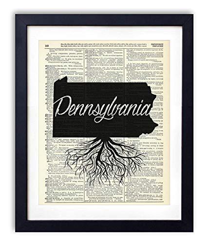 - Pennsylvania Home Grown Upcycled Vintage Dictionary Art Print 8x10