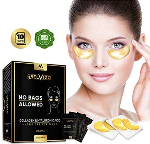 Belvizo Eye Mask Treatment w/Collagen + Hyaluronic Acid + Soy Protein + Grapefruit Extract |Anti Dark Circles, Eye Bags, Puffiness, Anti Wrinkle| 24k Hydro Gel Under Eye Patches, 10 Pairs