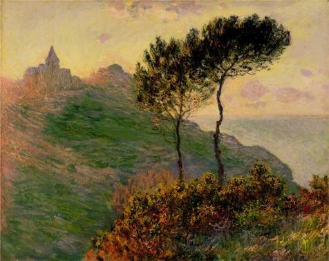 Oil Painting 'The Church At Varengeville, Against The Sunset, 1882 By Claude Monet' 30 x 38 inch / 76 x 96 cm , on High Definition HD canvas prints, gifts for Game Room, Home Office And Living decor