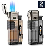 [2-Pack] Torch Lighter, Cigar Cigarette Lighter Adjustable 3 Jet Flame Refillable Butane Lighter w/Punch Cutter