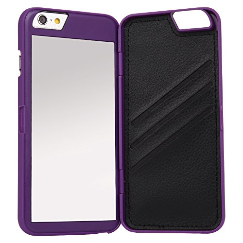 iPhone 6 /6s Case,Wetben Hidden Back Mirror Wallet Case with Stand Feature and Card Holder for Apple iPhone 6, 6S 4.7- (Purple)