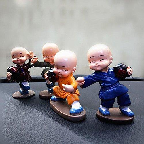 4pcs Cute KongFu Monk Car Interior Display Decoration Car Seat Ornament Car Home Decor Gift (C)
