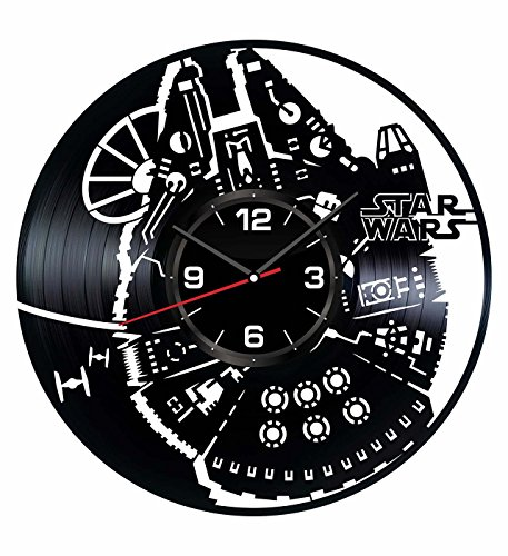 Millennium Gift (Star Wars Millennium Falcon Wall Clock Made of Vintage Vinyl Records - Stylish clock and Amazing Gifts Idea – Unique Home Decor – Personalized Presents for Men Women – Living Room Art – Handmade 12 In)
