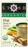 Stash Tea Organic Chai Green & Black Tea, 18 Count Tea Bags in Foil (Pack of 6)