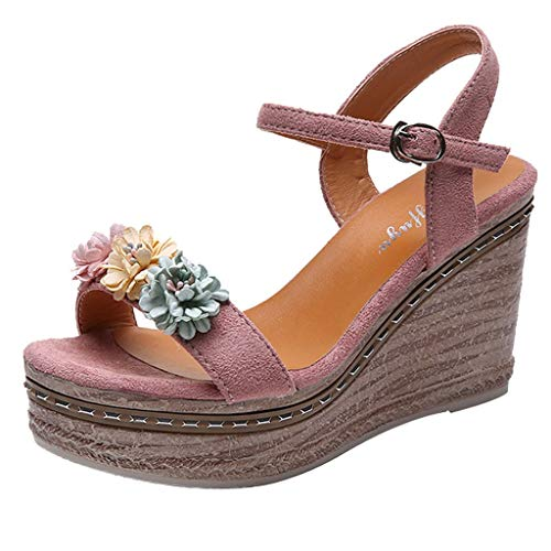 Sandals for Women with Heels,Nuewofally Ladies Summer Flowers Wedges Heel Casual Shoes Black White Wedge Sandals