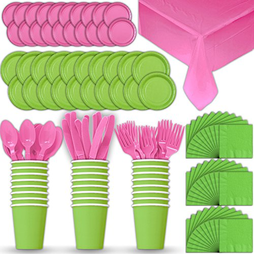 Paper Tableware Set for 24 - Lime Green & Hot Pink - Dinner and Dessert Plates, Cups, Napkins, Cutlery (Spoons, Forks, Knives), and Tablecloths - Full Two-Tone Party Supplies Pack