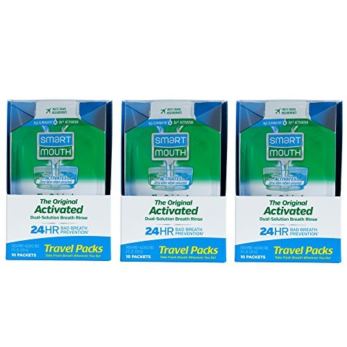 Price comparison product image SmartMouth Mouthwash Travel Packets for 24 Hours of Fresh Breath Guaranteed, 3 Boxes, 10 packs each