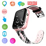Kids Smart Watch - GPS Tracker Waterproof Child Watch Phone Digital Wrist Watch SOS Alarm Clock Camera Flashlight Phone Watch for Children Age 3-12 Boys Girls with iOS Android (01 Waterproof S7 Pink)