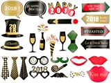 GOER 38Pcs 2018 New Years Photo Booth Props Kit,2018 New Years Eve Party Decorations