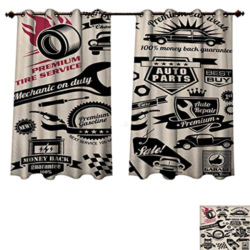 RuppertTextile Retro Blackout Thermal Curtain Panel Car Repair Shop Logos Monochrome Car Silhouettes Best Garage in Town Window Curtain Fabric Beige Dark Coral Black W55 x L39 inch