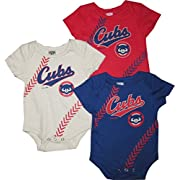 Outerstuff Chicago Cubs 3pc Creeper Set Infant Baby Stitch (0-3 Months)