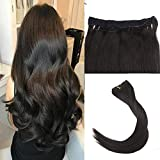 Easyouth Remy Halo Extensions 22 inch Color Off Black 100g per Package Hair Extensions No Glue Hair Extensions with Fishing Line Halo Clip in Extensions