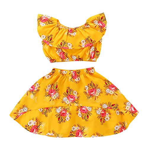 Baby Girl Toddler Off Shoulder Floral Skirt Clothing Set Summer Beach Outfits ()