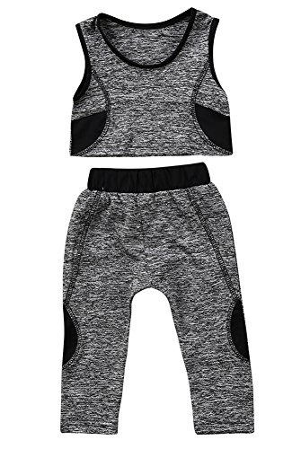 Calsunbaby Infant Baby Girls Crop Yoga Vest Top + Long Pants Leggings Sport Fitness Tracksuit Outfits (Gray, 5-6 T) Cotton Running Vest