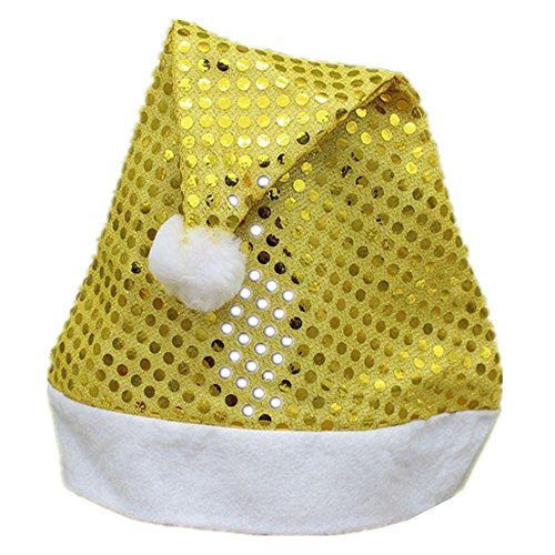 BFY 2 pcs Sparkling Glitter Sequin Christmas Santa Hat for Adults (Gold Santa Hats)