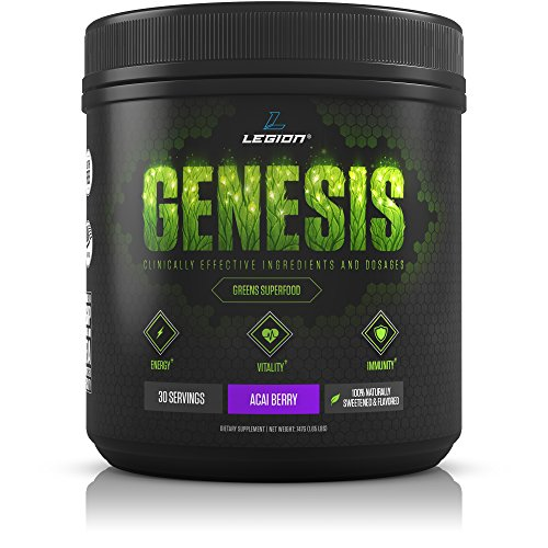 Legion Genesis Green Superfood Powder - With Spirulina, Dandelion, Moringa Oleifera, Maca Powder, Astragalus Root & Reishi Mushroom. All Natural Immune System Booster. Acai Berry, 30 Servings. by Legion Athletics