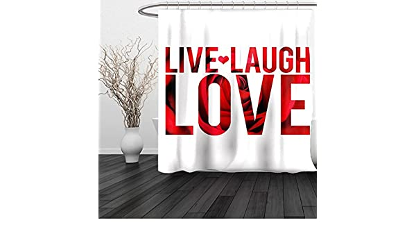 Amazon HAIXIA Shower Curtain Live Laugh Love Typographic Montage Words With Macro Rose Petals Texture Print Red White Black Home Kitchen