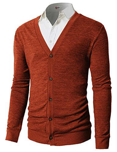 H2H Mens Slim Fit Shawl Collar Knit Double Breasted Cardigan Sweater Orange US 3XL/Asia 4XL (CMOCAL023) - Double Breasted Cashmere