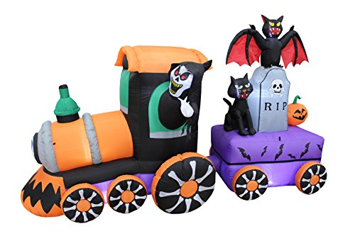 7 Foot Long Lighted Halloween Inflatable Grim Reaper Ride Train with Tombstone Cat Bat Pumpkin Indoor Outdoor Yard Art Decoration (Halloween Bat Art)