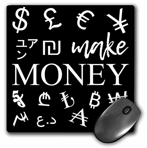 3dRose Alexis Design - Typography Money Symbols - International currency symbols. A white text Make Money on black - MousePad (mp_286762_1)